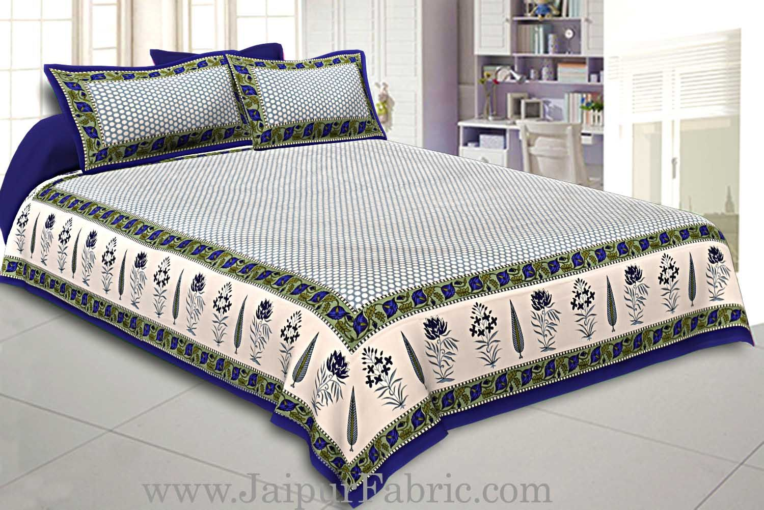 Double Bedsheet New Look Super Fine Cotton Blue Border