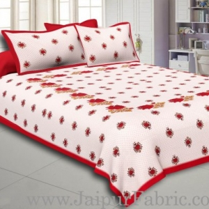 Dotted White Base Red Lotus Flower Print Cotton Double Bed Sheet