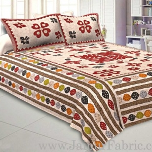 Double Bedsheet Cream Base Barmeri Rangoli Print