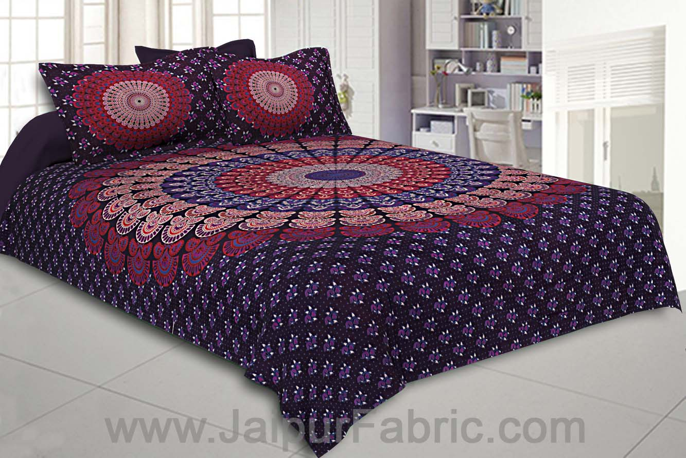 Grapevine Mandala Bedsheet Tapestry Floral Print With 2 Pillow Covers