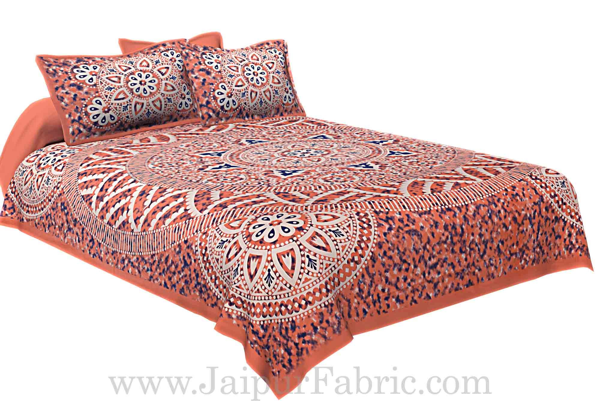 Double bedsheet Pink Color Sanganeri Rangoli Pattern Smooth Touch With 2 Pillow Cover