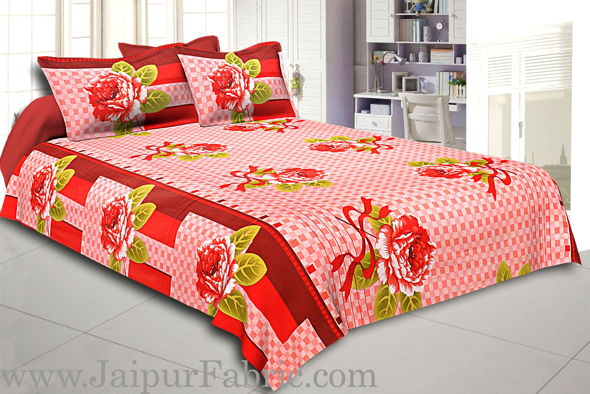 Orange Square Base with Flower Print Cotton Double Bed Sheet