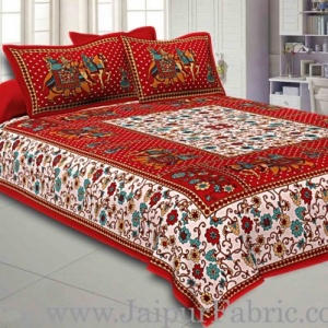 Double Bedsheet Maroon Border Gangaur Print Fine Cotton With Two Pillow Cover