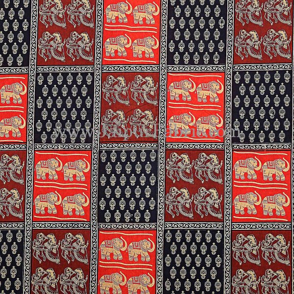 Black Border checkered  With Elephant And Dandiya  Pattern  Golden Print Super fine Cotton  Double Bed Sheet