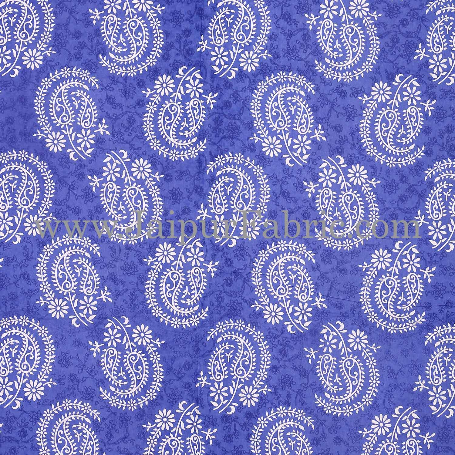 Blue  Border With Zig-Zig Lining Twin Kerry Pattern Cotton Double Bed Sheet