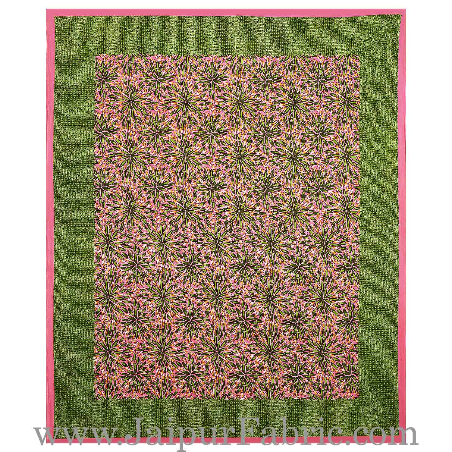 Pink Border Green Base Flower Pattern Cotton Double Bed Sheet