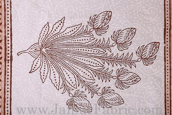 Brown Border With Hand Block Print Super Fine Cotton Mate Napkin Set  Of 6