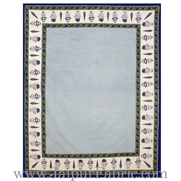Double Bedsheet New Look Super Fine Cotton Blue Border