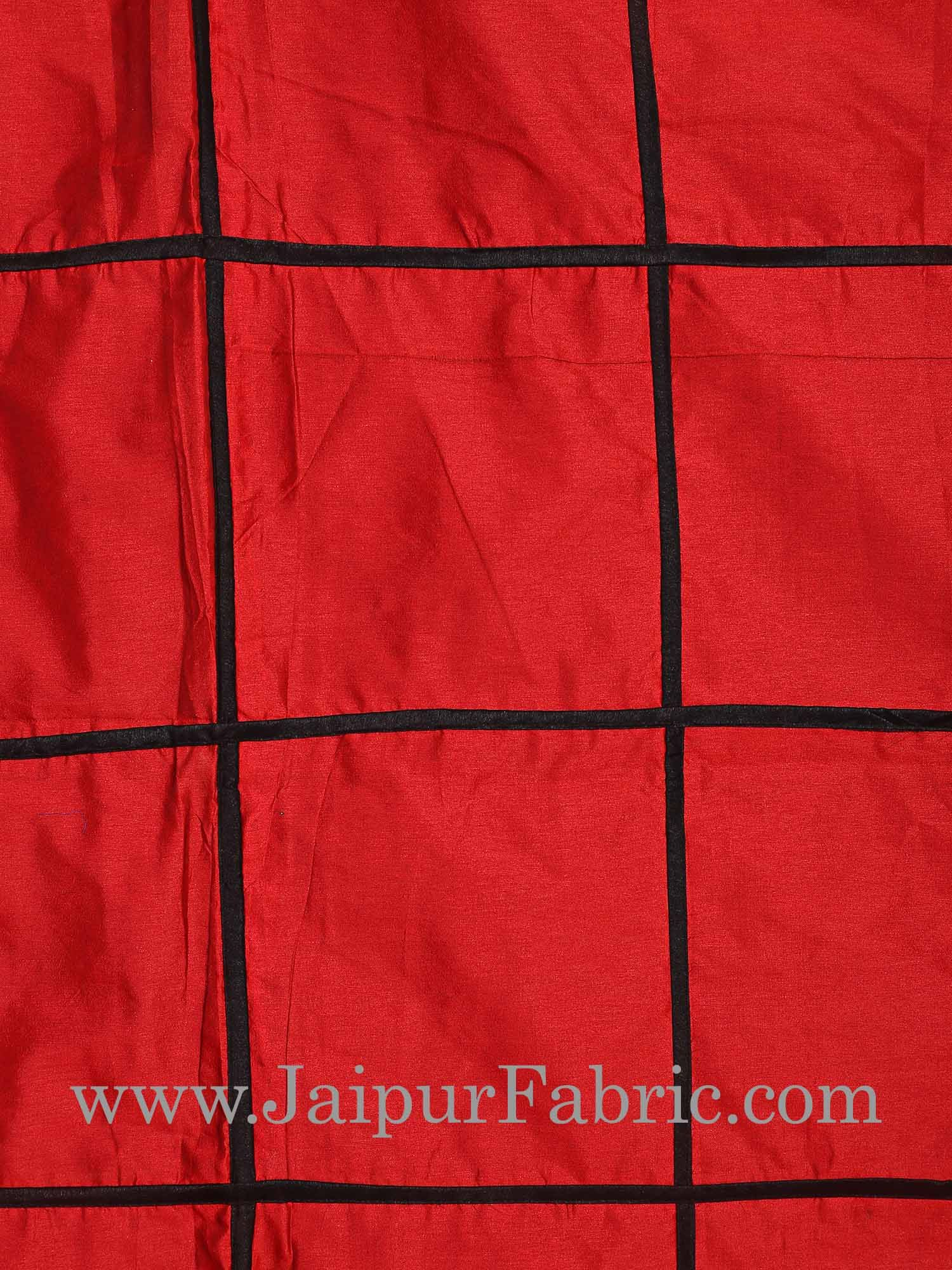 Light Red  With Check Silk festive Double Bed sheet