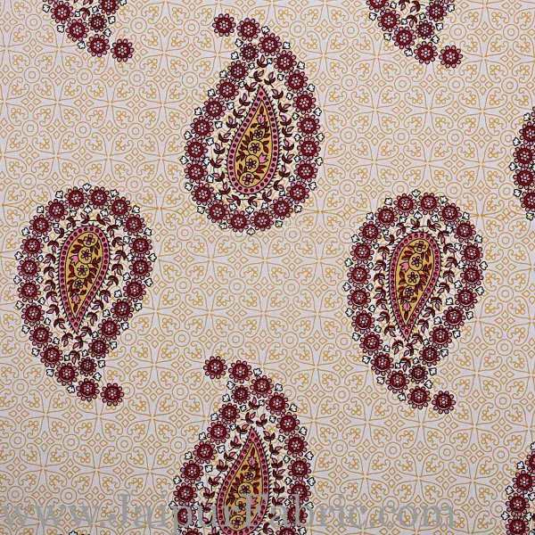 Double bedsheet Pink Border With Paisley Print Fine Cotton With Two Pillow Cover