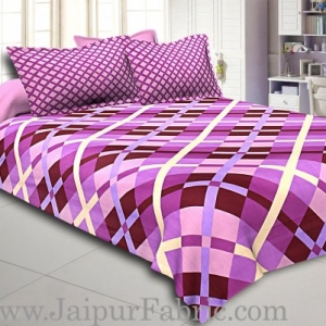 Amethyst Color Purple Square Print Double Bed Sheet