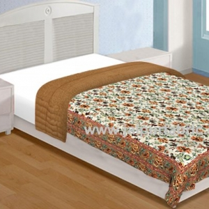 Jaipur Rajai Mughal Print Fine Cotton Single Bed Quilt