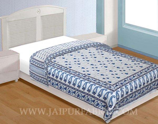 Single Quilt Blue Kerry  Golden Print Reversable