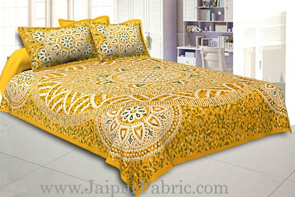 Double bedsheet Yellow Color Sanganeri Rangoli Pattern Smooth Touch With 2 Pillow Cover