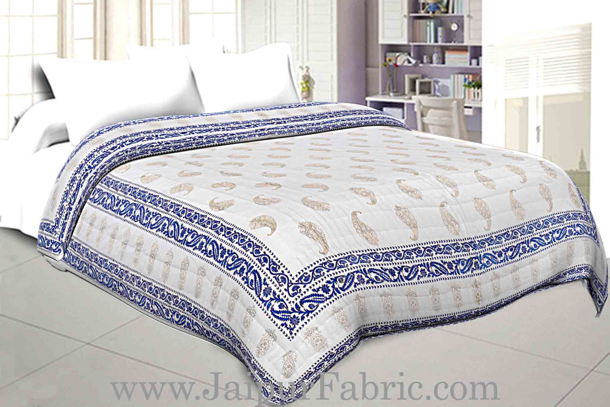 Jaipuri Printed Double Bed Razai Golden Light Blue White base with Paisley pattern
