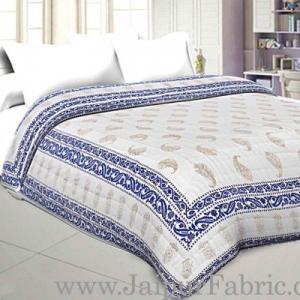 Jaipuri Printed Double Bed Razai Golden Light Blue White base with Paisley pattern
