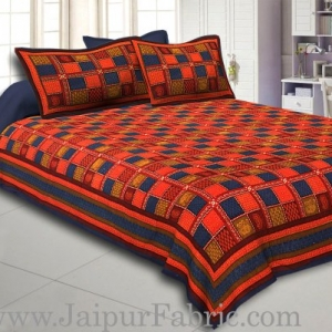 Blue Border Red And Blue Check Pattern Dabu Print (Hand Block)  Super Fine Cotton Double Bed Sheet
