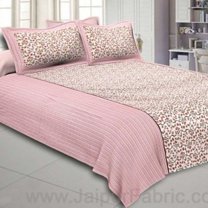 Double Bedsheet Baby Pink Floral Motif  Print