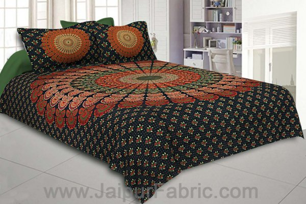 Dark Green Mandala Bedsheet Tapestry Floral Print With 2 Pillow Covers