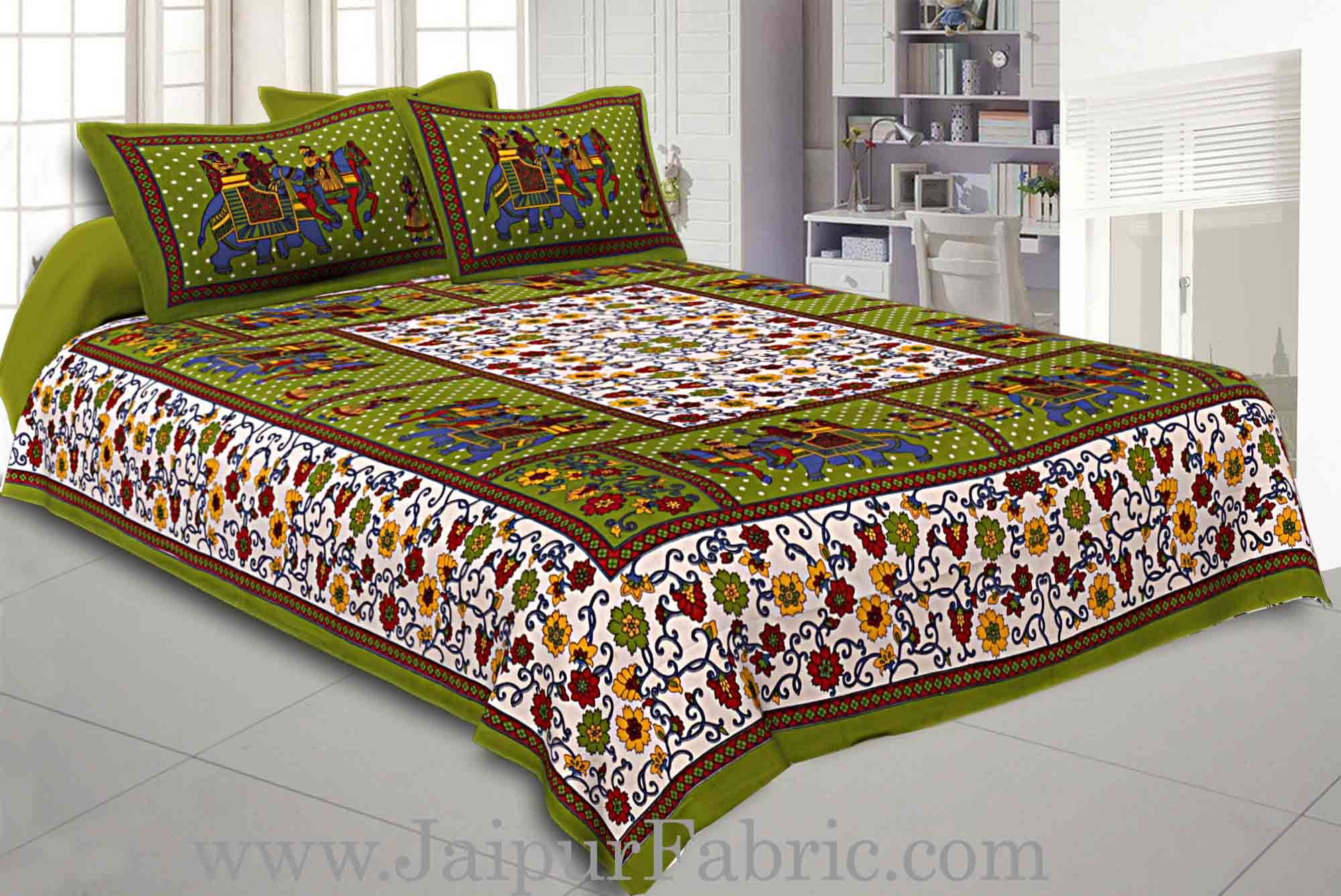 Double Bedsheet Green Border Gangaur Print Fine Cotton With Two Pillow Cover