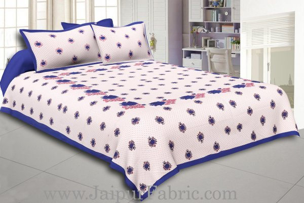 Dotted White Base Blue Lotus Flower Print Cotton Double Bed Sheet