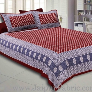 Maroon Border Maroon Base Floral Pattern Screen Print Cotton Double Bed Sheet