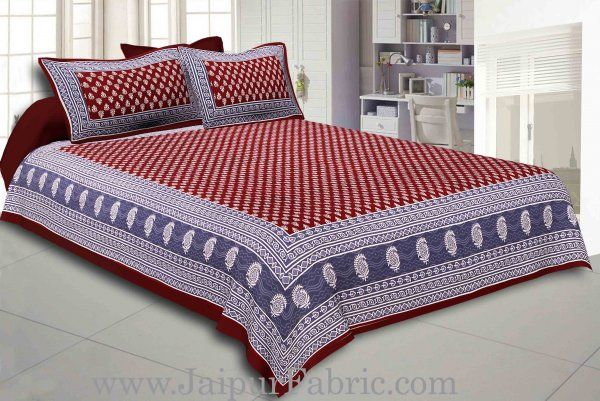 Wholesale Maroon Border Maroon Base Floral Pattern Screen Print Cotton Double Bed Sheet