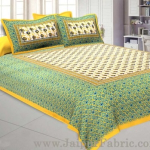 Floral BedSheet Double Bed with Yellow Base