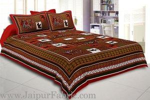 Dark Maroon And Multi Colour Base Doli Print In Checks  Fine Cotton Double Bed Sheet