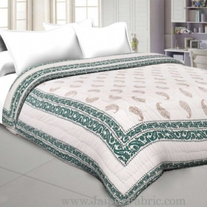 Green  Border With Cream Base Golden Paisley Booti Print Both Side Printed Cotton Double Quilt