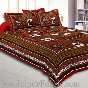 Dark Maroon And Multi Colour Base Doli Print In Checks  Fine Cotton Double Bed Sheet