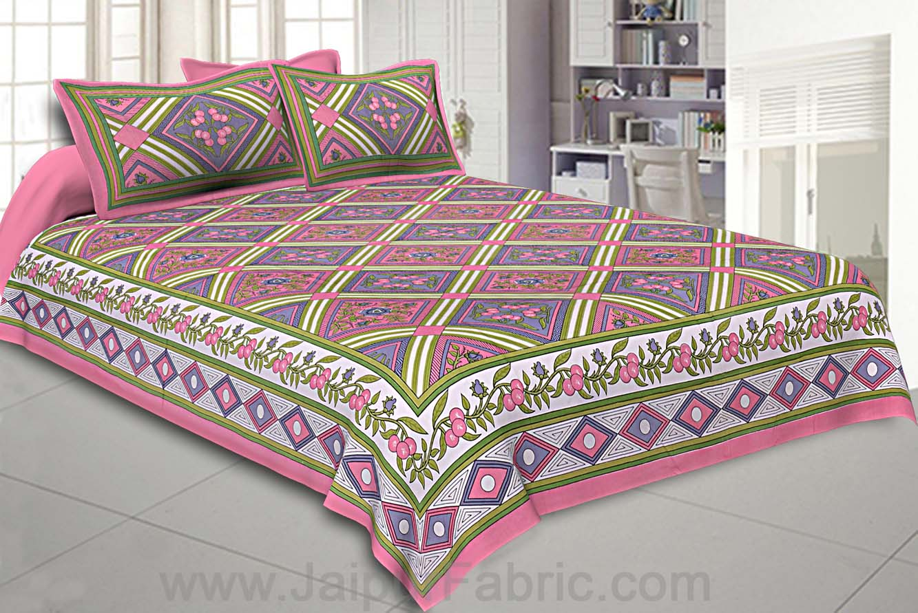 Floral diamonds pink grey Double Bedsheet