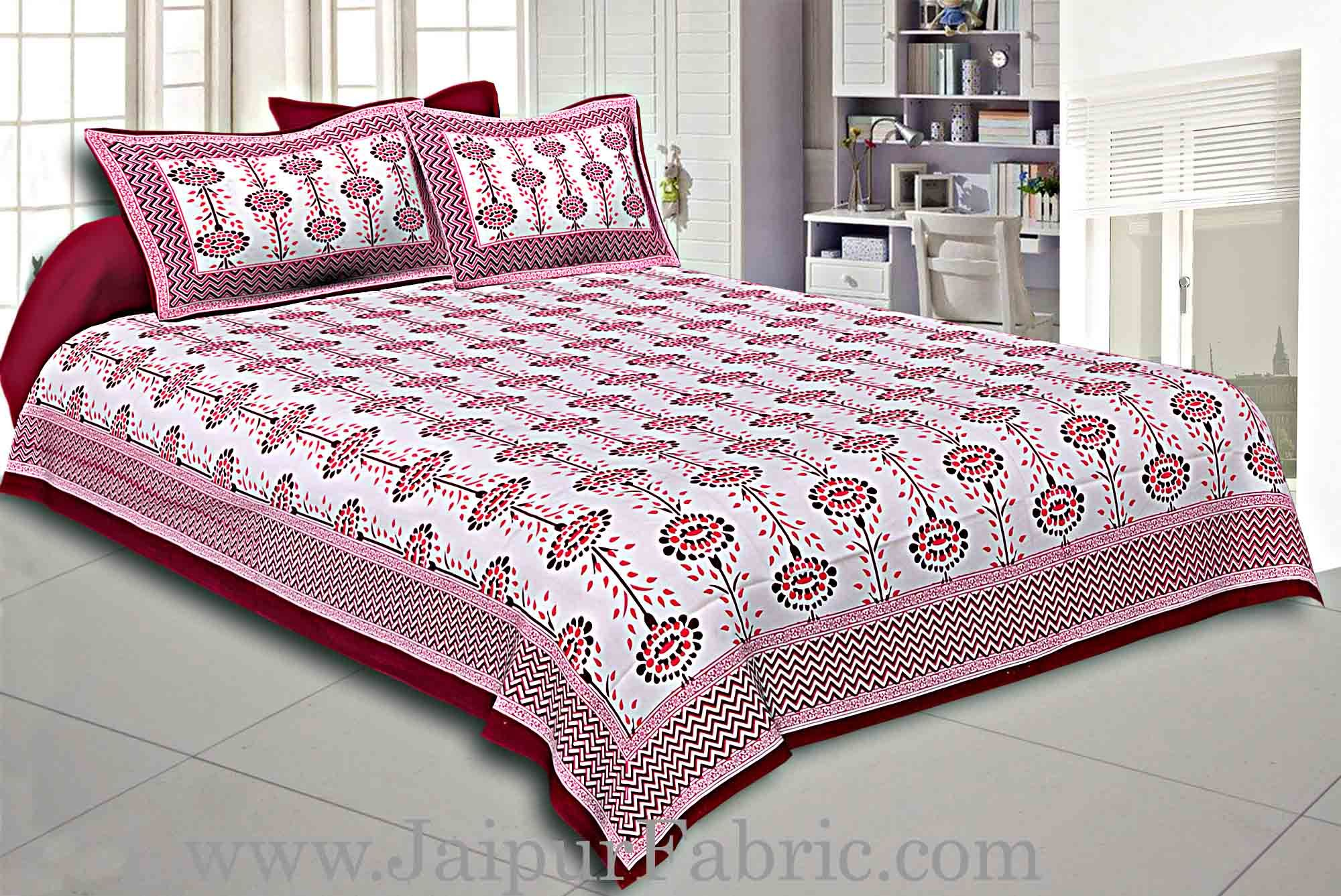Maroon Border Cream Base Linear Floral Cotton Satin Hand Block Double Bedsheet
