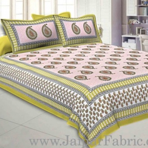 Double bedsheet Yellow Border With Paisley Print Fine Cotton With Two Pillow Cover