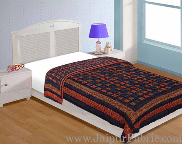 Jaipuri Razai/Quilt Blue Color Check Dabu Print Fine Cotton