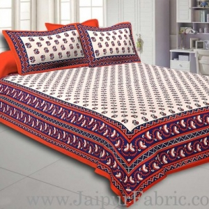 Orange Border with Bell And Floral Cotton Double Bedsheet