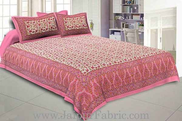 Double Bedsheet Pink Vintage Seamless Jaal Print With 2 Pillow Covers
