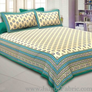 Green Border Cream Base  Multi Border Small Booti  With Golden Print Super Fine Cotton Double Bedsheet