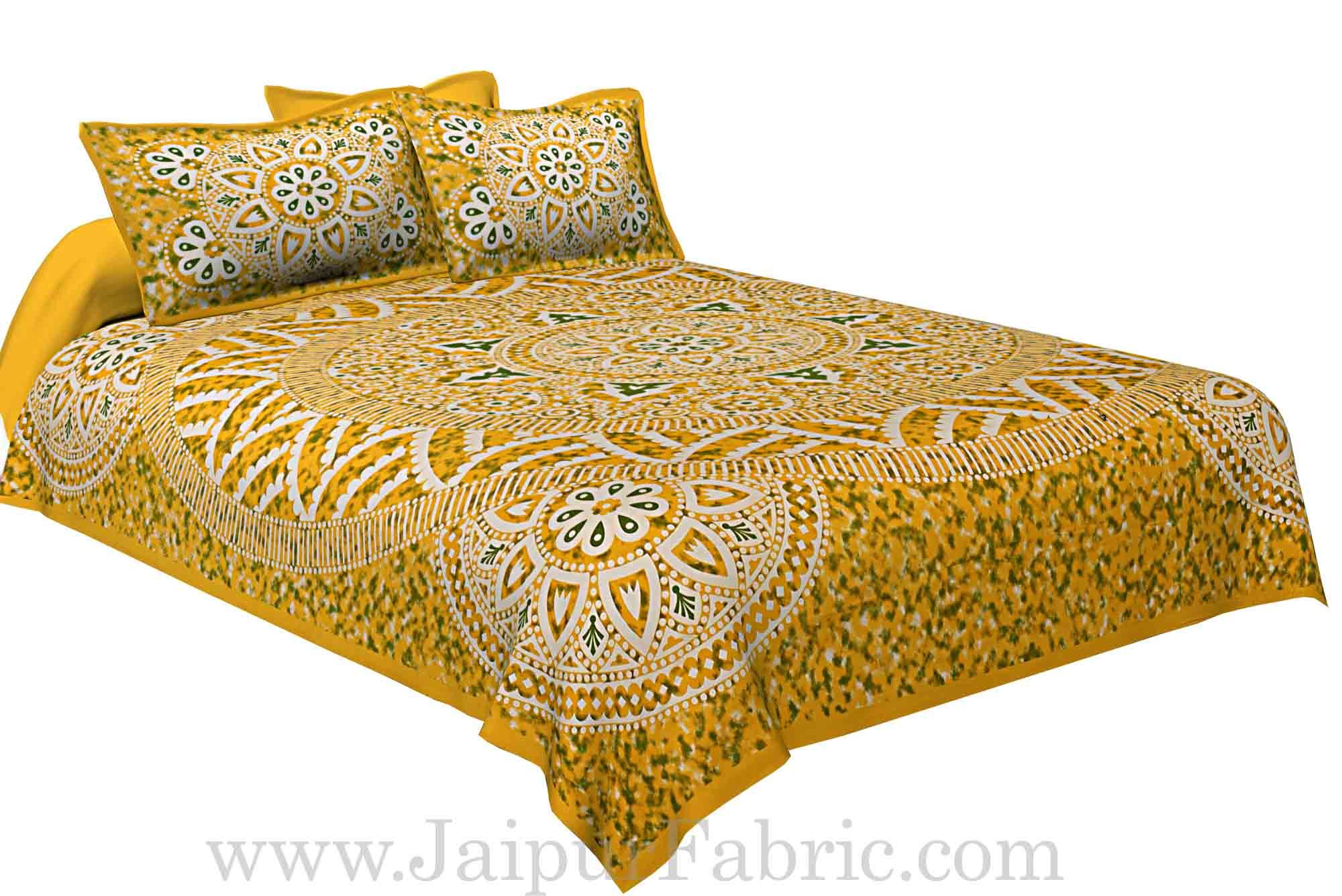 624fcbff800 Double bedsheet Yellow Color Sanganeri Rangoli Pattern Smooth Touch With 2  Pillow Cover