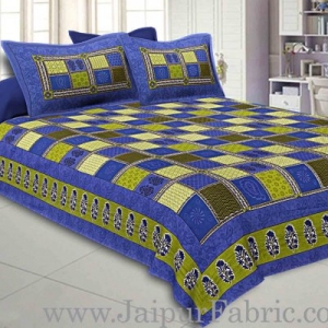 Blue  Border Multicolor Checkered Super fine Cotton Double Bedsheet