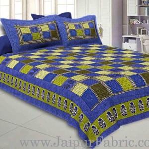 Blue  Border Multicolor Checkered Super fine Cotton Double Bedsheet