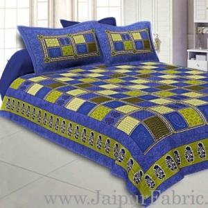 Wholesale Blue  Border Multicolor Checkered Super fine Cotton Double Bedsheet