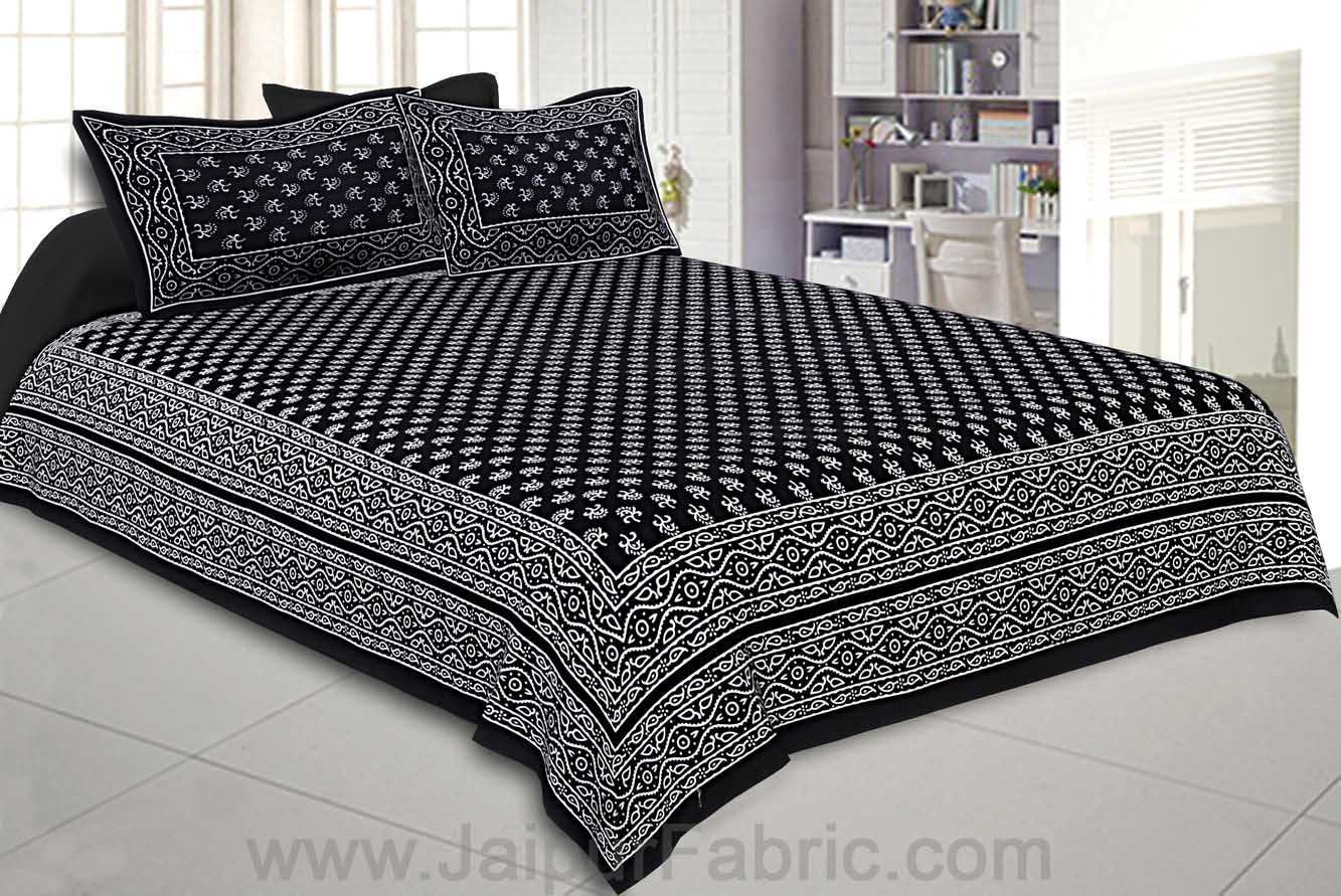 Double Bedsheet Charcoal Black Small Leaf Print