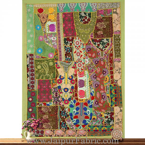 Wall Hanging  Patchwork With Embroidered Applique Work