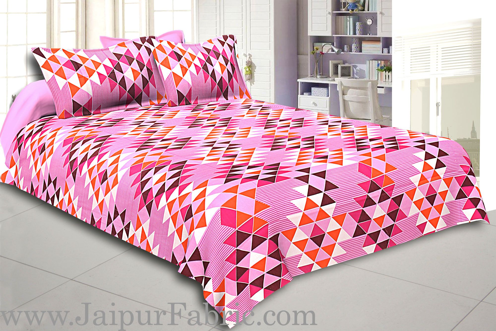 Pink Geometry Design Cotton Double Bed Sheet