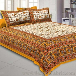 Super King Size Double Bedsheet Yellow Jaipuri Traditional Print with 2 Pillow Covers