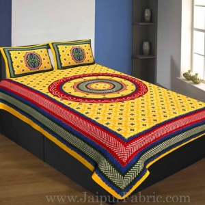 Single Bedsheet Pure Cotton Yellow  Border with  Bandhej and Rangoli Print