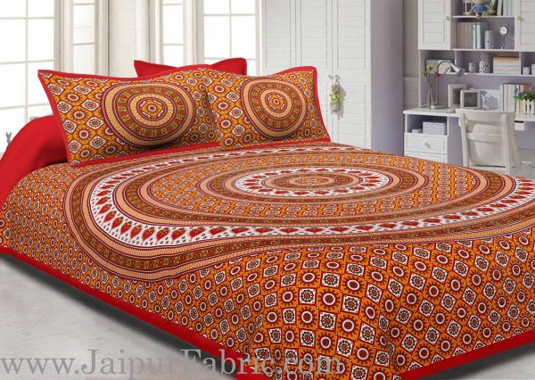 Red Border Sanganeri Print Cotton Double Bed Sheet With 2 Pillow Cover