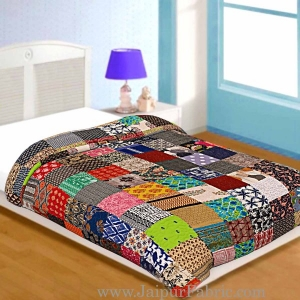 Patchwork AC Quilt/Blanket Soft Designer Single Bed - Multicolor (Multi)