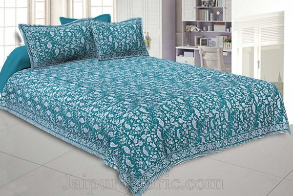 Double Bedsheet Sea Green Blue Paisley Floral Pattern